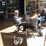Relaxing outside Funk Fish in the sunshine!