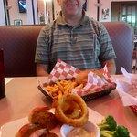 Burger, fries, onion rings, crabmeat stuffed shrimp & broccoli