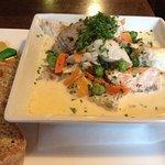 Wonderful seafood chowder in pub!