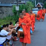Monks collecting alms close to My Dream