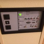 Audio/video input panel; very nice and rare find in a hotel. Inputs for computers and other devi