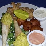 curried lobster salad, conch fritters, chicken tenders - YUM!