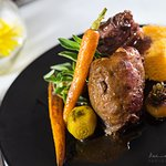 Deboned lamb shank with butternut bread and baby beetroot