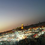 Sun setting in Jemaa El-Fna - Pano view restaurant