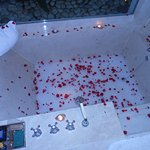 Rose petal filled bathtub...it's about 25 sq. feet