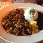 Jamaican Black Pepper Shrimp with Plantain, Black Beans and Basmati Rice