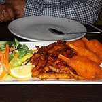 Vegetarian Chicken Drumsticks, Bombay Bad Boy Fries and Salad