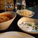 Vegetarian Chicken Curry, Jeera Rice, Raita and Tandoori Roti