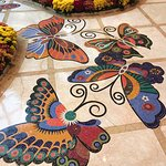 Butterfly inlaid tile