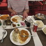 Food we ordered- We could have shared one rice and one meat masala dish.