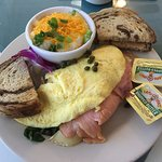 Slammin Salmon Omelet with Brie, Cheese Grits, Rye Toast - The Breakfast Cottage, Nokomis FL