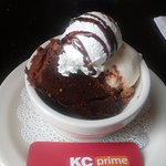 Brownie with ice cream and whipped cream