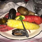 The New England Clam Bake dinner at our wedding reception! Amazing!