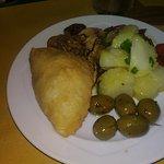 patate, olive, peperoni, funghi e sofficino