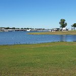 Lake Grapevine and the lawn behind our RV October 2016