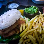 Chippy Style Fish Butty with Fries and Mushy Peas