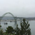 View of Yaquina Bay Bridge from parking area