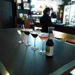 Our group's drink at the Greystone Bar & Cellar: Wine, Espresso Drink, Cosmo and Beer
