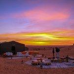 Sun rise at luxury camp les cles du desert