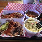 Pulled pork, ribs, potato salad, baked beans and cornbread...delicious!!