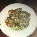 Chicken cream chops, shawarma platter, fattoush side salad. Large portions and tasty too!
