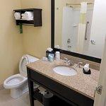 Pretty standard & average bathroom at the Hampton Inn (06/Oct/16).