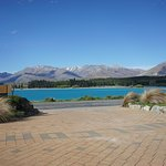 View of the amazing turquoise Lake Tekapo from the drive way