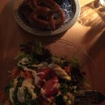 Salad and pretzels