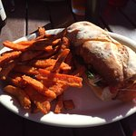 Grilled Cheese Gone Wild and Sweet Potato Fries