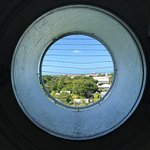 View through one of the round windows.