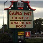 This is the China Hut  sign in front of it's building.