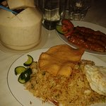 Young coconut drink, Nasi Goreng, Satay Chicken