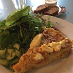 Butternut squash and cheese tart, salad and pickled cucumber