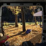 The view out to the river from the bed in our van