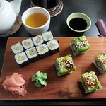 sushi with fried duck and sushi with chicken and avocado + jasmine tea