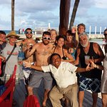 our crew having fun at david's bar on the far end of the beach!