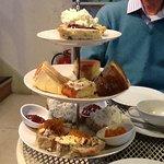 The afternoon tea plate at Lovegrows, Hebden Bridge.