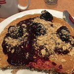 We had breakfast at Denny's. I had blackberry pancake with whole wheat flour and flax were good.