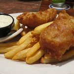 Fish and chips with coleslaw.
