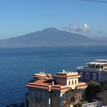 Stunning view of Mount Vesuvius and the bay from the restaurant balcony.