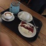 Red velvet cake, tea and espresso