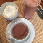 room service for breakfast - smoothie & hot chocolate