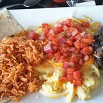 Eggs, Salsa, Rice and Beans on Tortillas - GREAT Breakfast