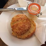 Cheese Scone and lovely little Kilner Type jar of butter