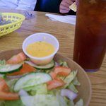 Tasty Salad and Dressing and Delicious Ice Tea Drink.