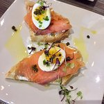 Smoked salmon toast with capers, cream cheese, & soft boiled egg!  This is SO GOOD!