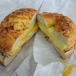 Turkey, egg and cheese on jalapeno bagel