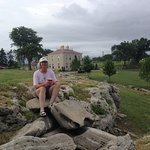 The Ranch house behind Pam...sitting on the Neva Limestone ;-)
