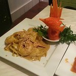 Prawn satay with carving