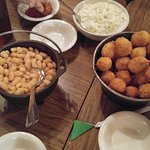 Family style hushpuppies, beans, and slaw = mmmm